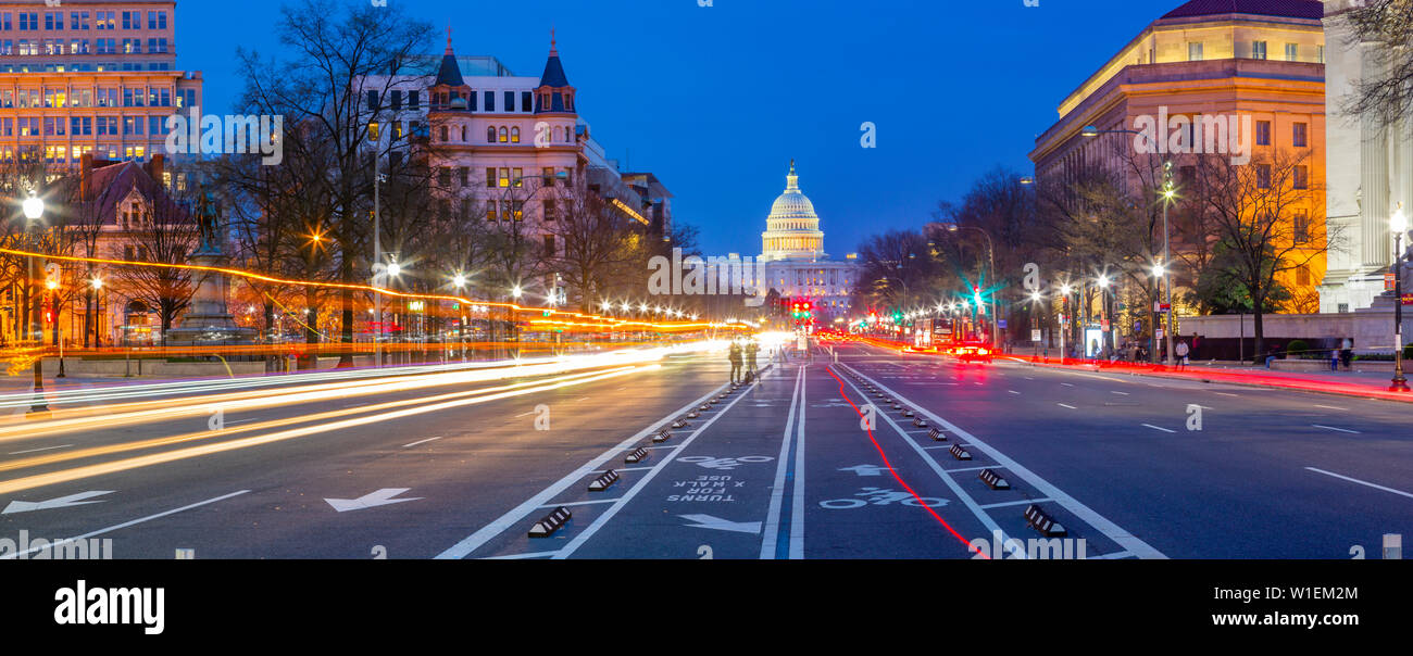 View of the Capitol Building at dusk from Pennsylvania Avenue, Washington D.C., United States of America, North America Stock Photo