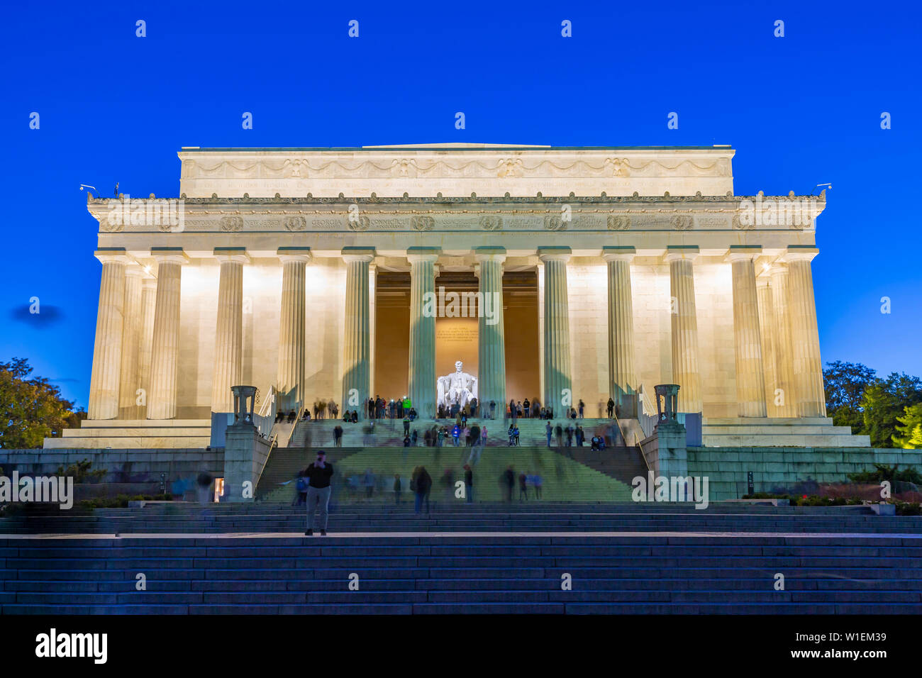 View of Lincoln Memorial at dusk, Washington D.C., United States of America, North America Stock Photo