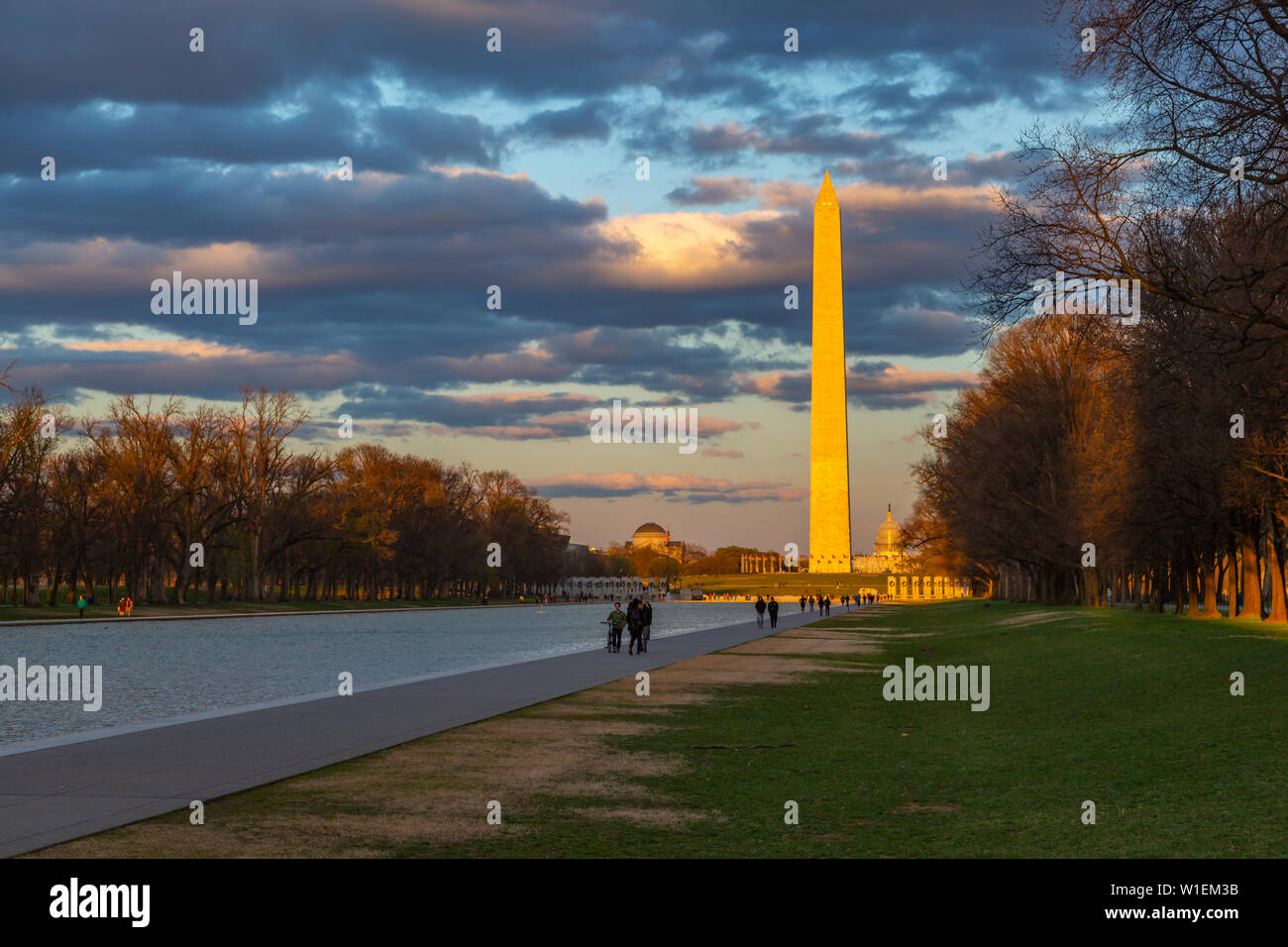 View of Lincoln Memorial Reflecting Pool and Washington Monument at sunset, Washington D.C., United States of America, North America Stock Photo