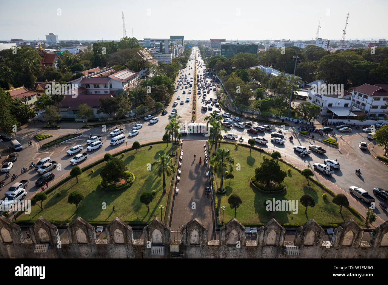 Lane Xang Avenue viewed from top of the Patuxai Victory Monument (Vientiane Arc de Triomphe), Vientiane, Laos, Indochina, Southeast Asia, Asia Stock Photo