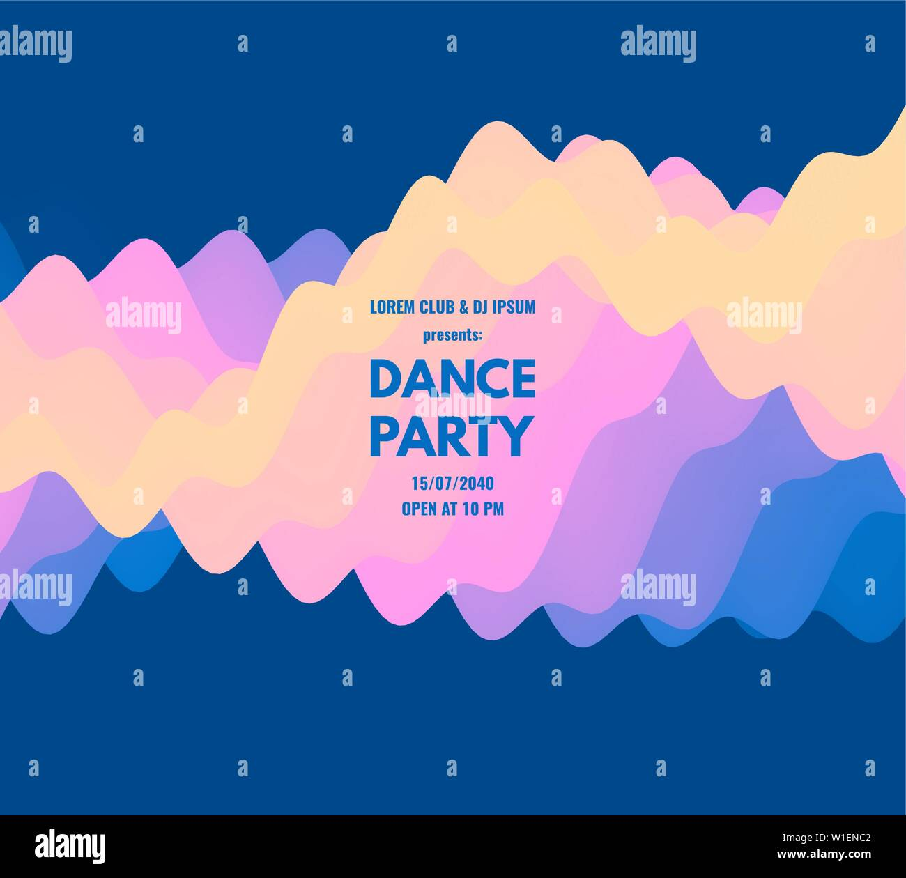 Dance Party Invitation With Date And Time Details Music Event Flyer Or Banner 3d Wavy Background With Dynamic Effect Vector Illustration Stock Vector Image Art Alamy
