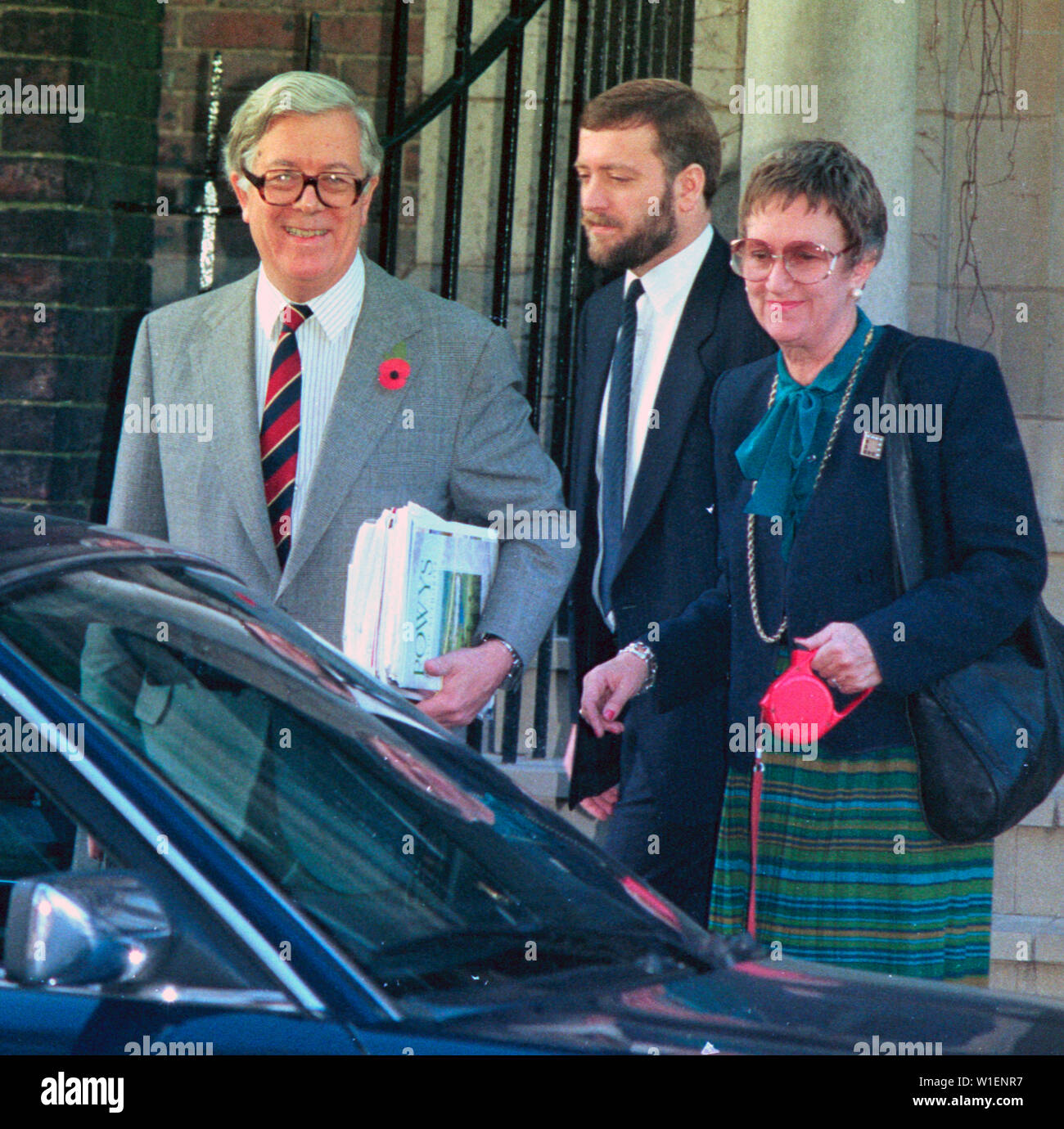 Sir Geoffrey Howe and his wife Lady Elspeth leaving their London home. - Stock Image