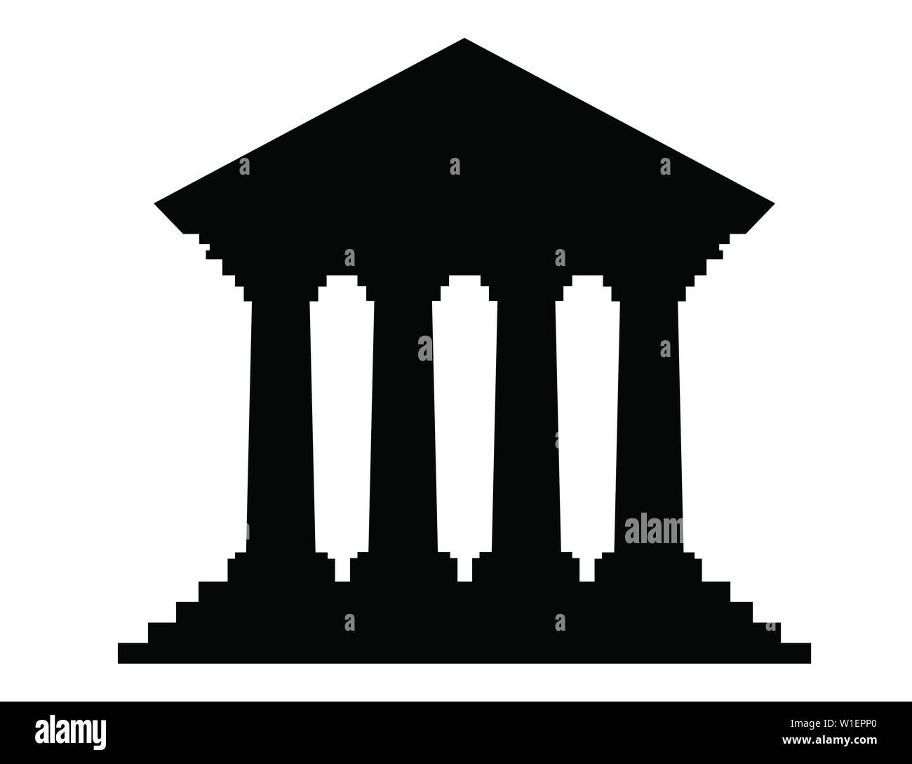 Retro Bank Design.Black Silhouette Flat Design Retro Bank Building With Columns