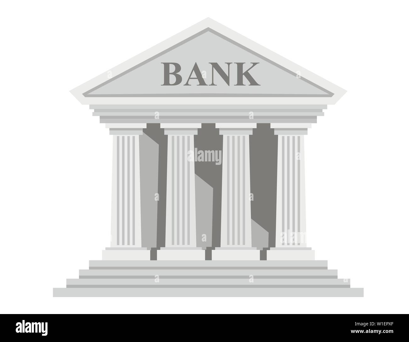 Retro Bank Design.Flat Design Retro Bank Building With Columns Without Windows