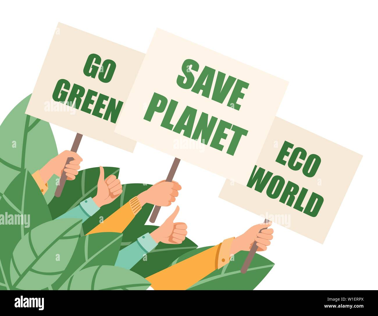 Group Of People Hands Hold Protest Sign Save Planet Eco World Go Green Flat Vector Illustration Horizontal Banner Stock Vector Image Art Alamy