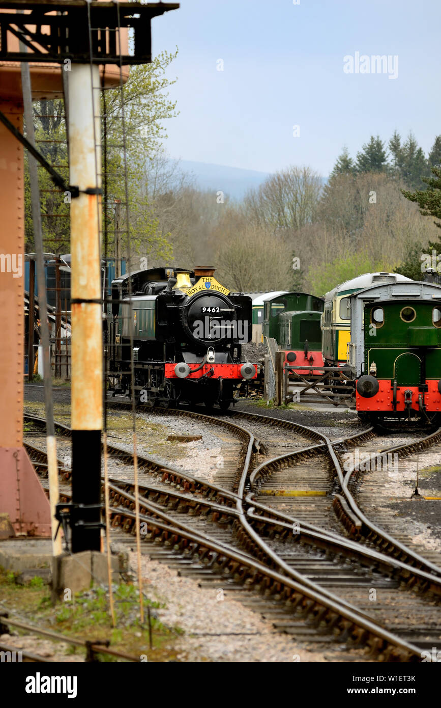 GWR Class 9400 pannier tank No 9466 at Buckfastleigh during the South Devon Railway's 50th anniversary gala. The loco is running as No 9462. Stock Photo