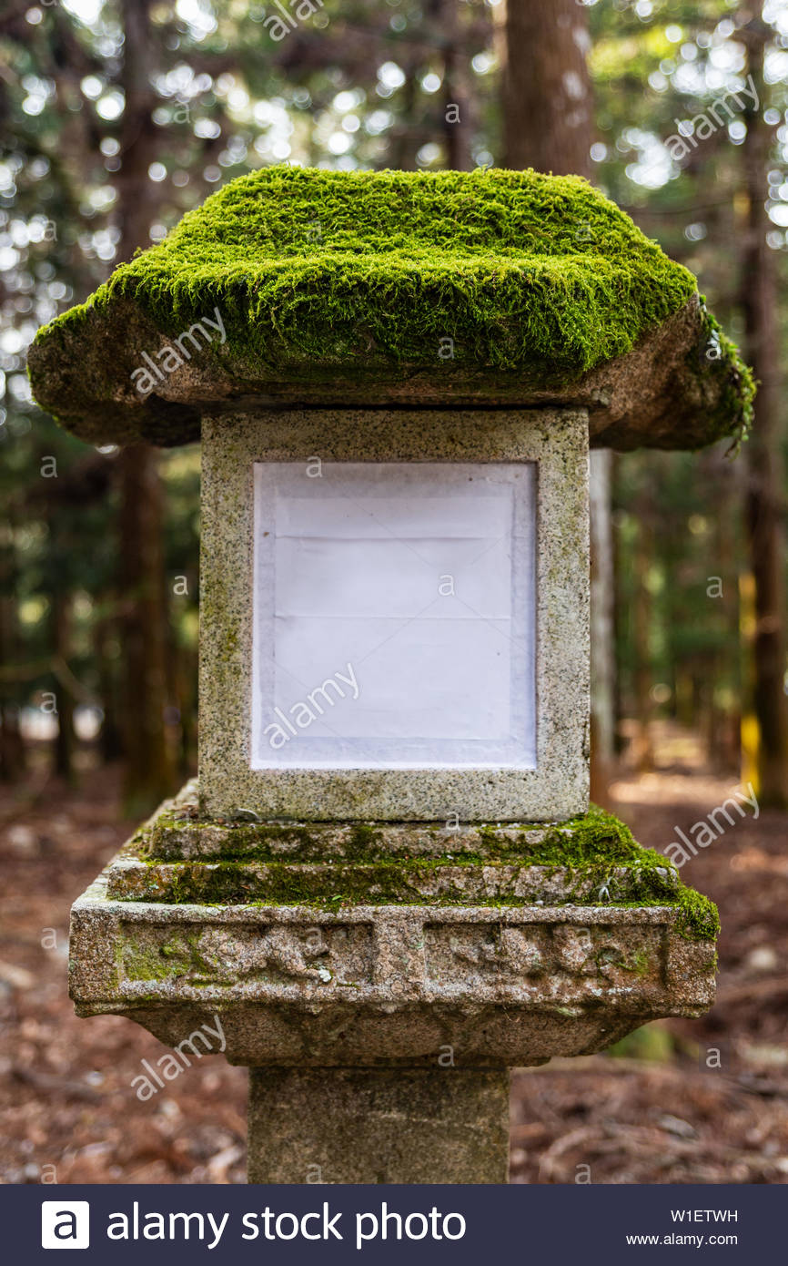 Stone lantern covered by moss close-up in Kasuga Taisha shrine in Nara, Japan. (UNESCO World Heritage Site). Without text - Stock Image