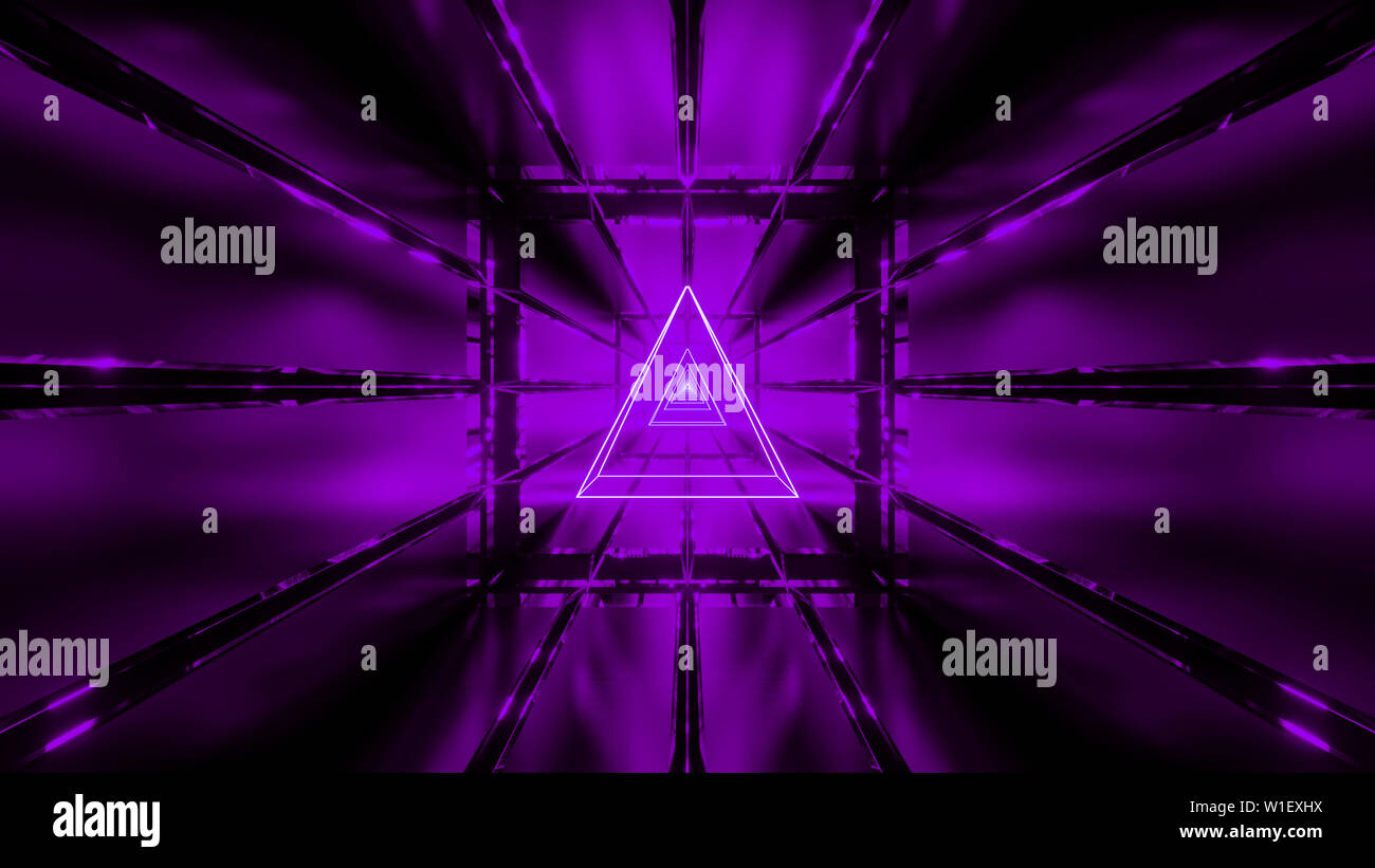 purple wireframe with tunnel background wallpaper 3d render - Stock Image