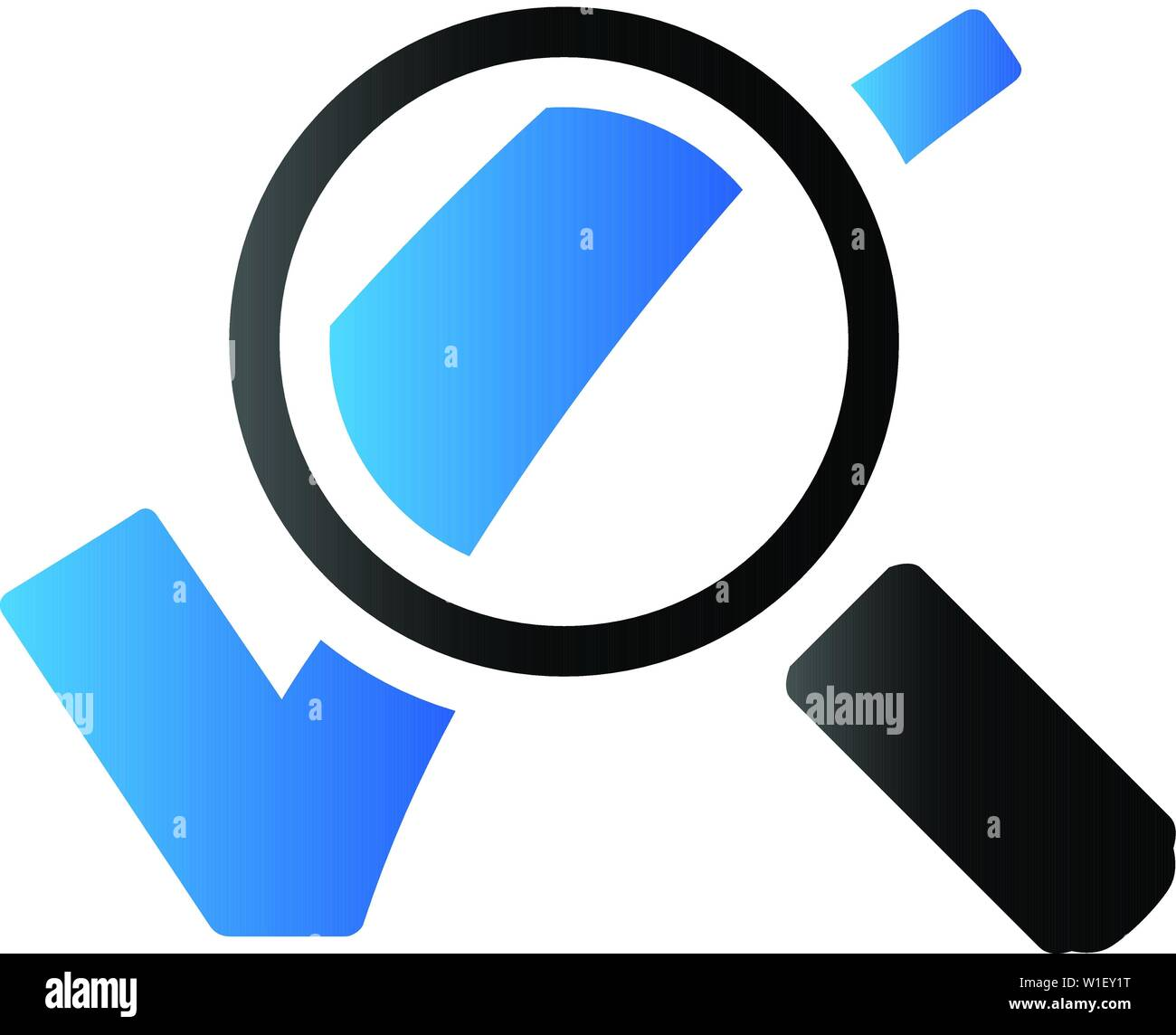 Magnifier check mark icon in duo tone color. Zoom find locate - Stock Image