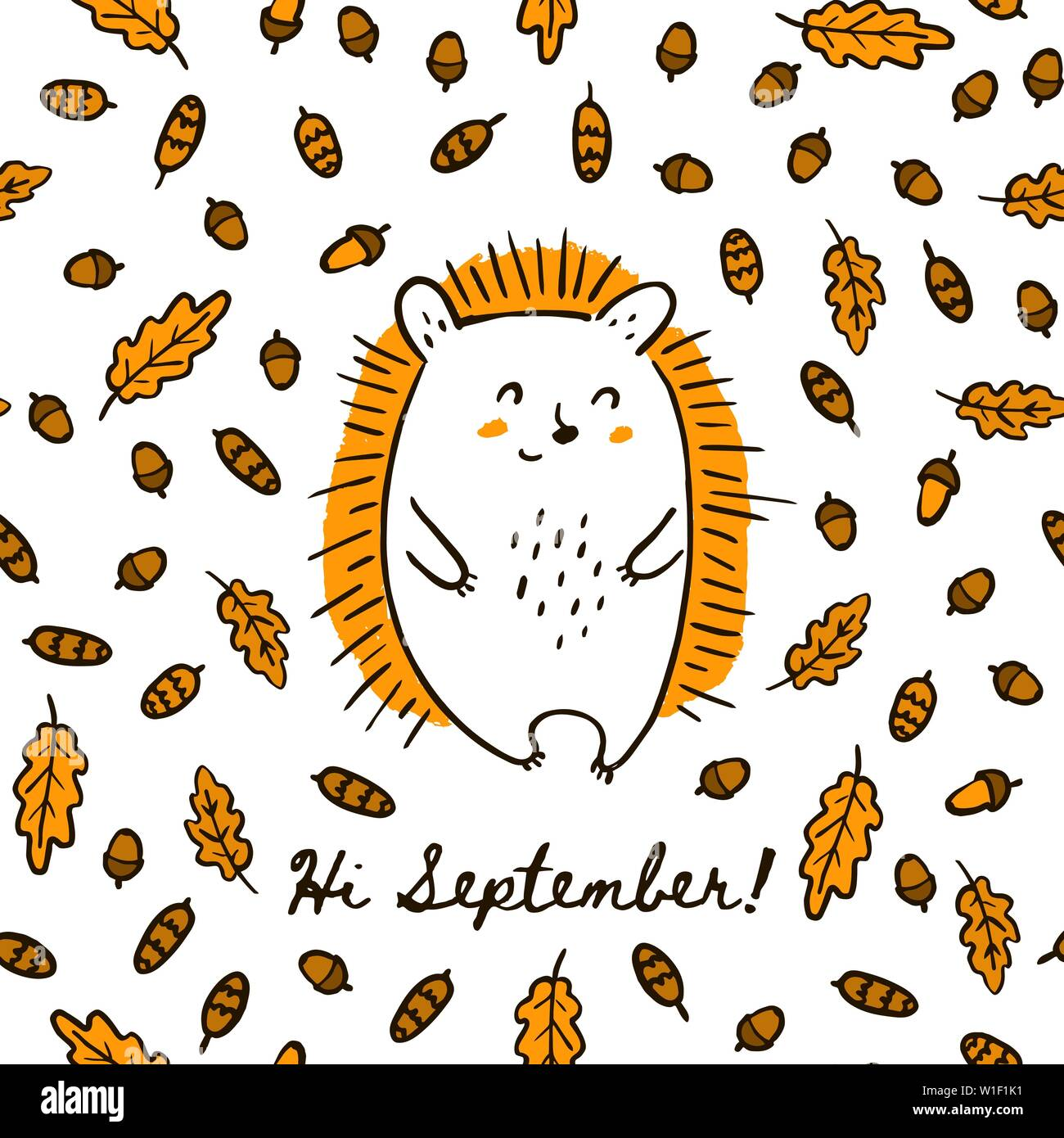 Cute Autumn Hand Draw Hedgehog On The Seamless Pattern Of