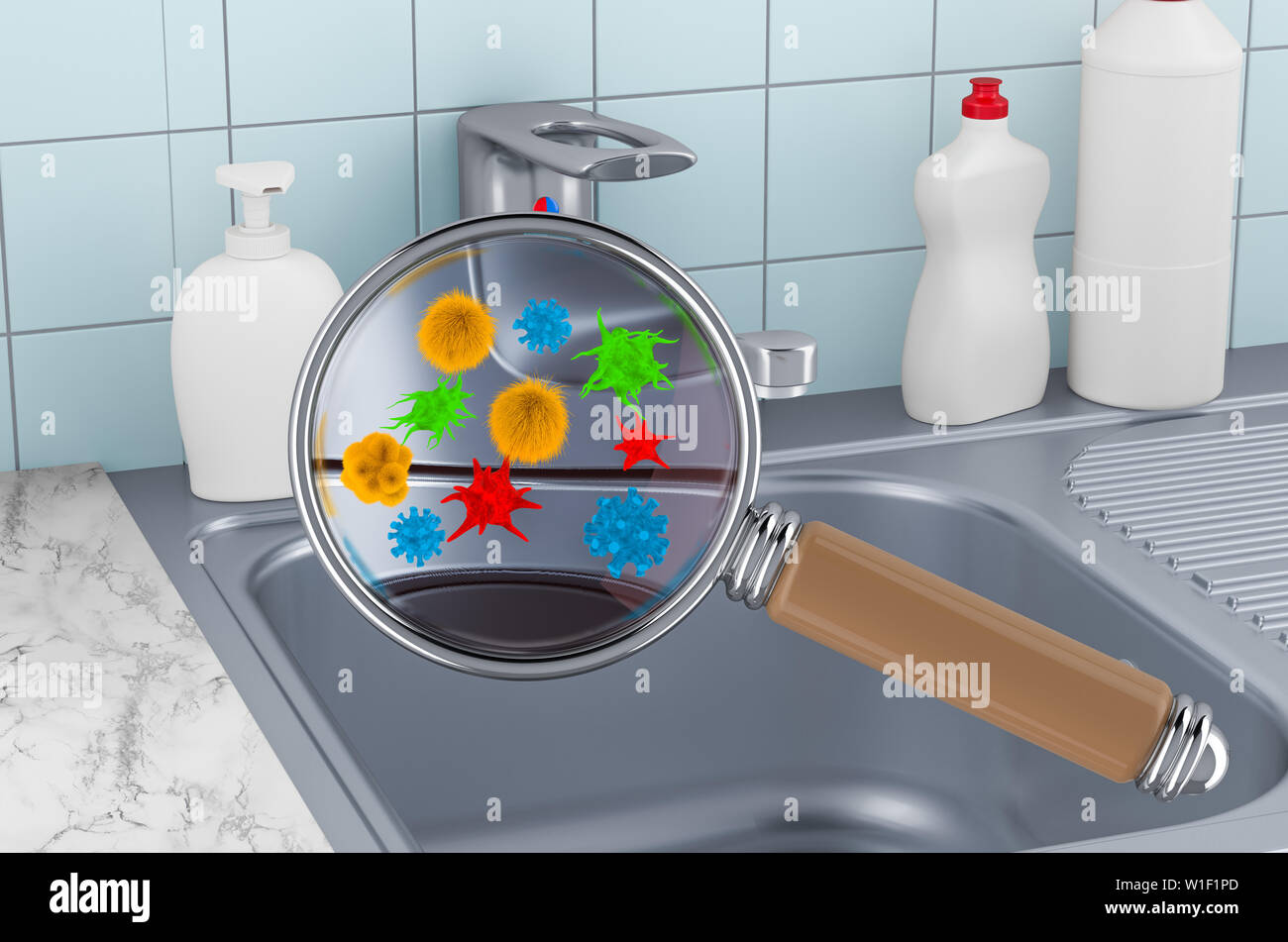 Phenomenal Kitchen Sink With Germs And Bacterias Under Magnifying Glass Complete Home Design Collection Papxelindsey Bellcom