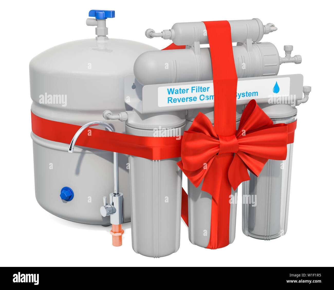 Reverse Osmosis System with red ribbon and bow  Gift concept
