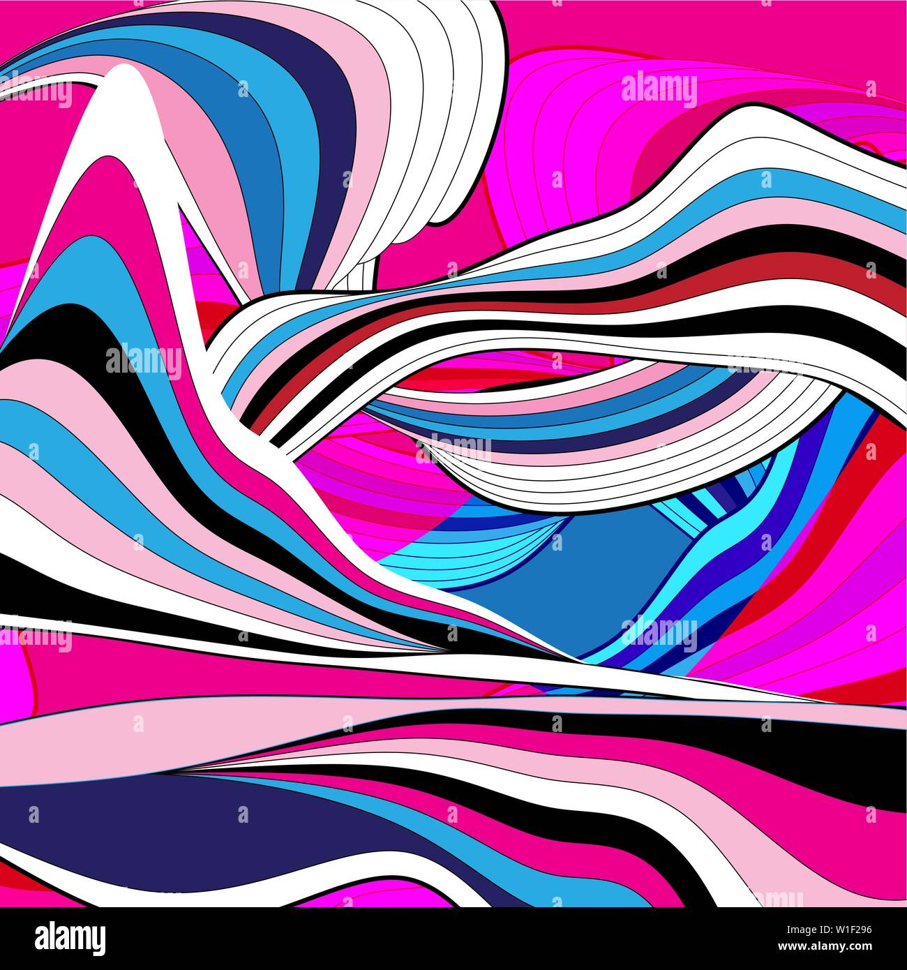 Abstract beautiful linear super wave vector graphics on a dark