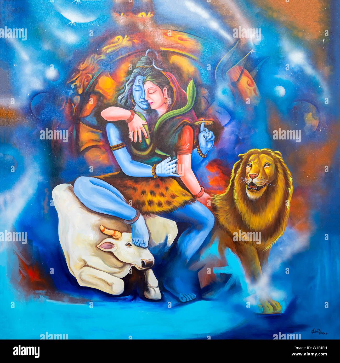 Painting representing Indian deities, For Editorial Use Only, Allahabad Kumbh Mela, World's largest religious gathering, Uttar Pradesh, India - Stock Image