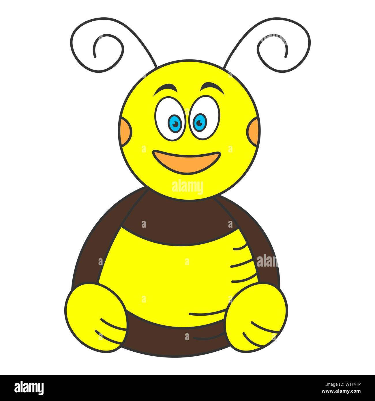 Cartoon bumblebee sitting on the floor. Color drawing. Vector illustration Stock Vector