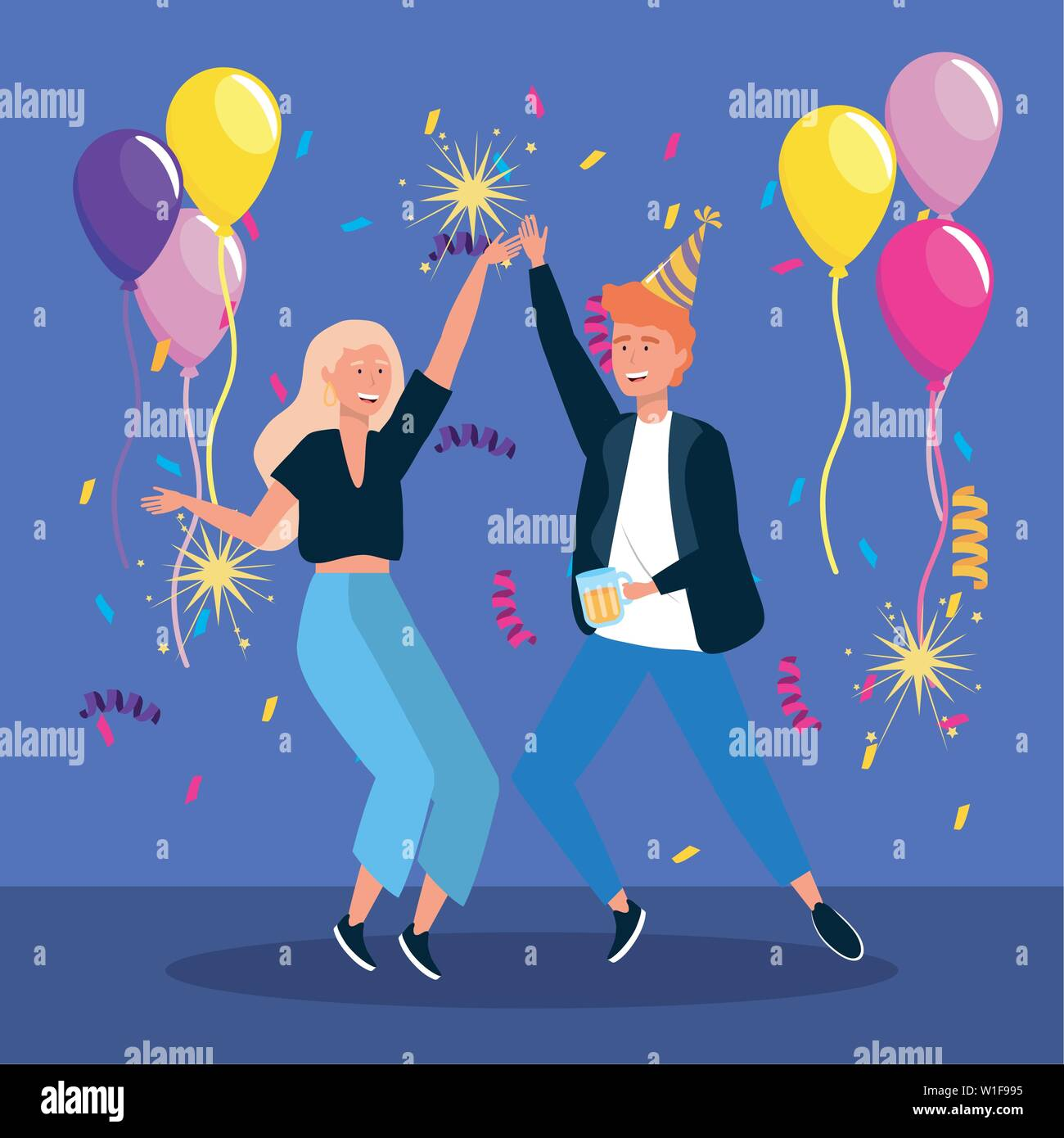 man and woman dancing with balloons and sparklers fireworks to party celebration, vector illustration - Stock Vector