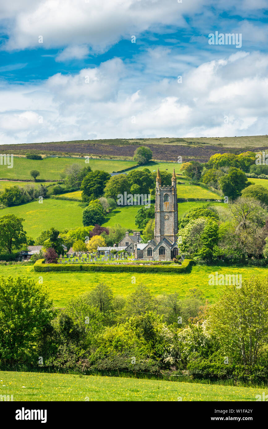 St Pancras Church at Widecombe in the Moor village in Dartmoor National park, Devon, England, UK. Stock Photo