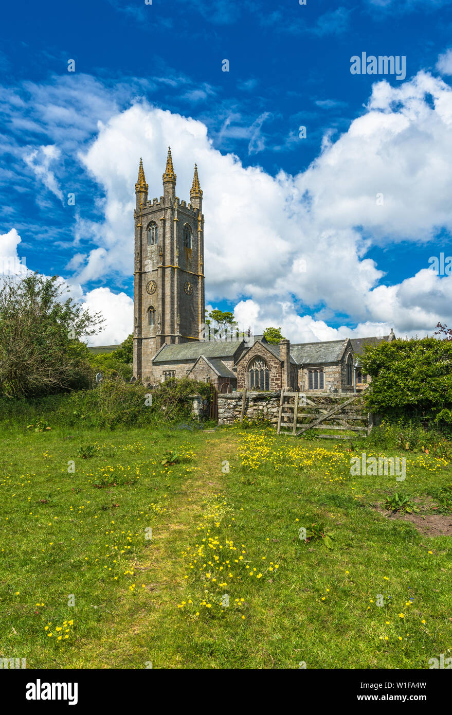 St Pancras Church at Widecome in the Moor village in Dartmoor National park, Devon, England, UK. - Stock Image