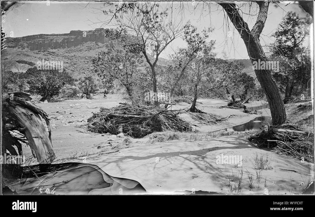 In Glen Canyon. Same as 780 and glass negative destroyed. Colorado River. Note: original 432 was captioned in Desolation. Beaman photo. Original negative destroyed by authority of Administrative Geologist. However, it is in green no. 432., 1871 - 1878 - Stock Image