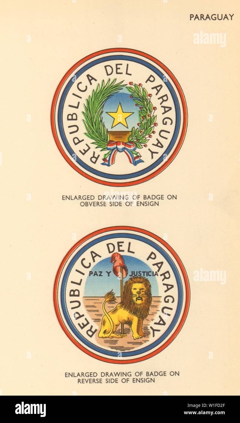 PARAGUAY FLAGS. Badge obverse & reverse side of ensign 1955 old vintage print - Stock Image