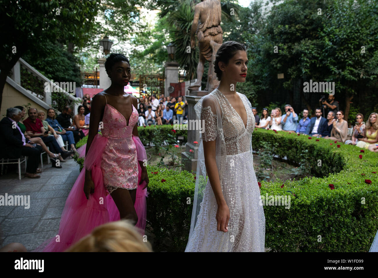 190702 Athens July 2 2019 Xinhua Models Present Creations By Designer Vassilios Kostetsos During
