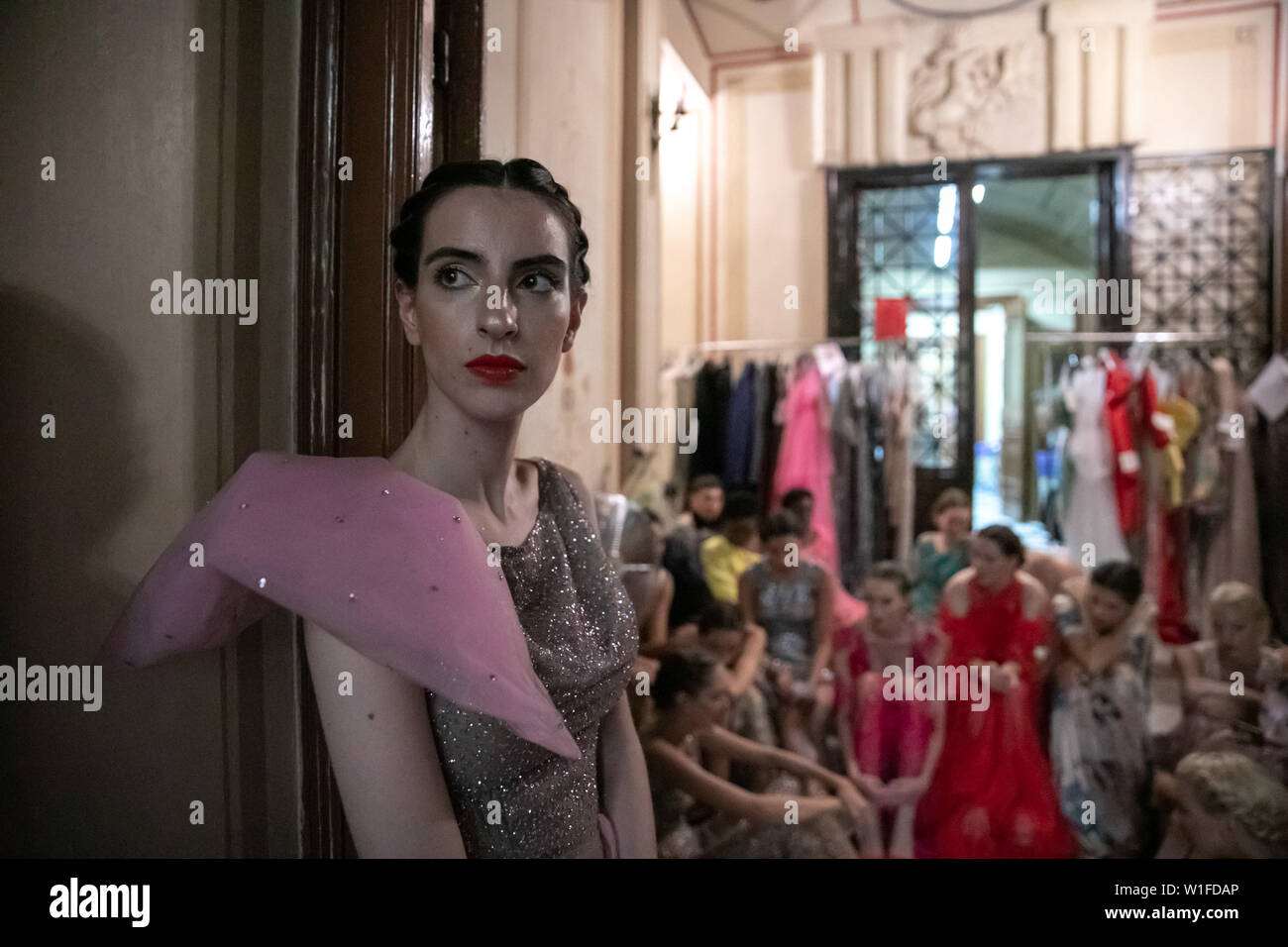 190702 Athens July 2 2019 Xinhua Models Are Seen In The Backstage Of The