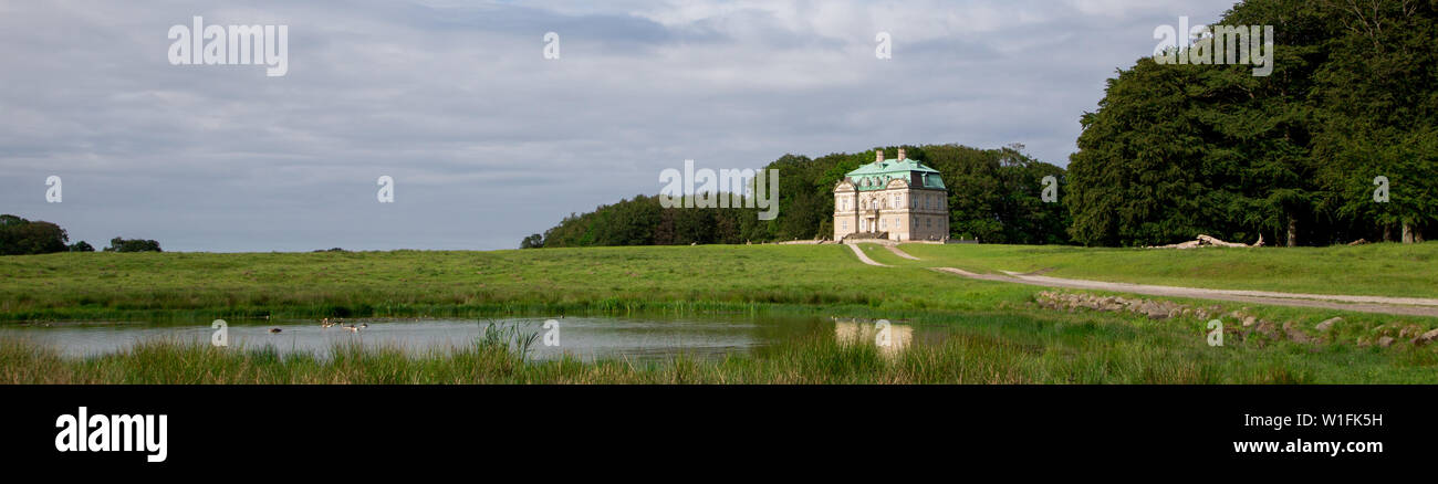 The Hermitage, a royal hunting lodge in Klampenborg of Denmark. Dyrehaven is a forest park north of Copenhagen. Stock Photo