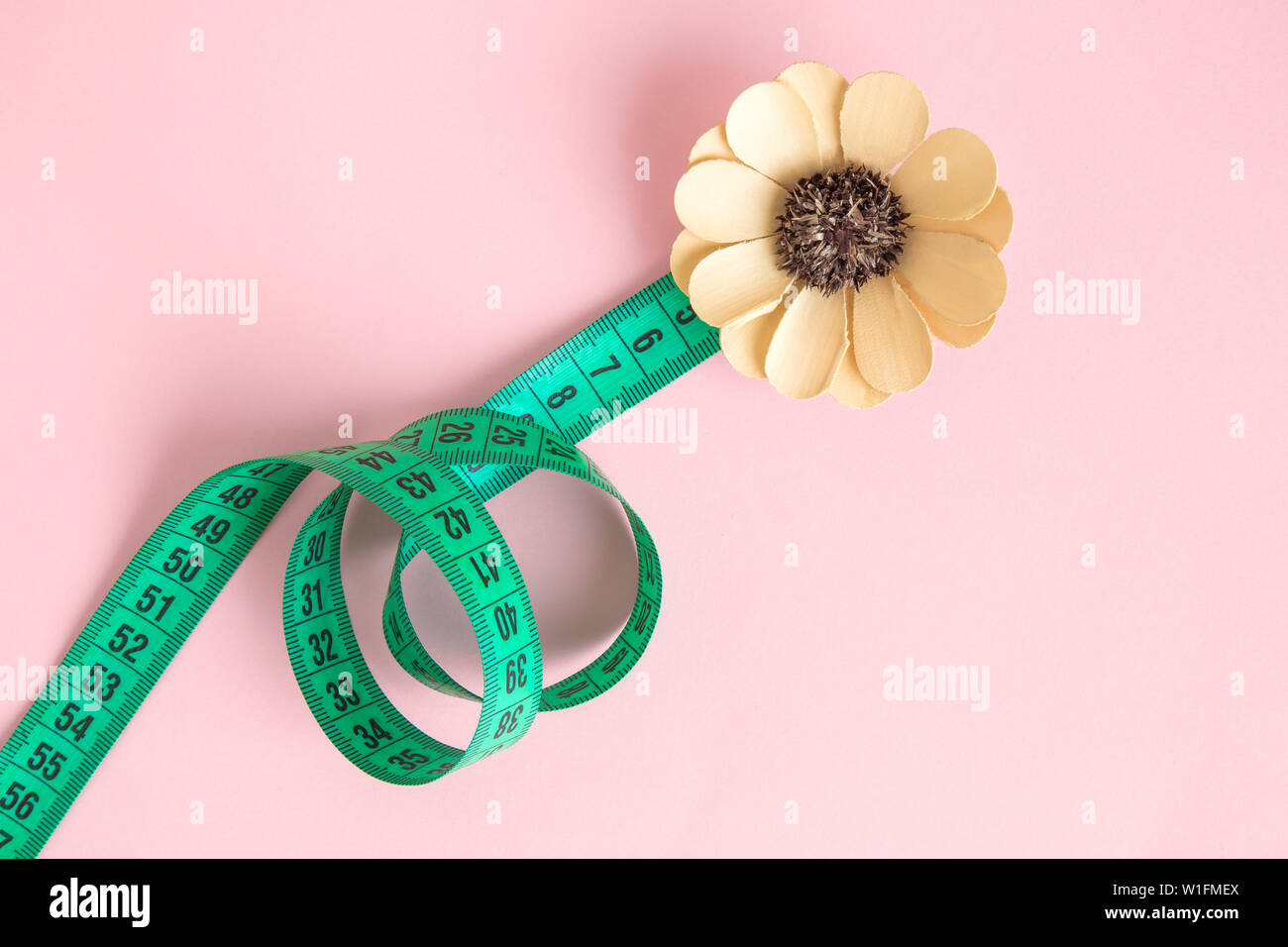 Flat lay of measuring tape in form of flower minimal creative concept. - Stock Image