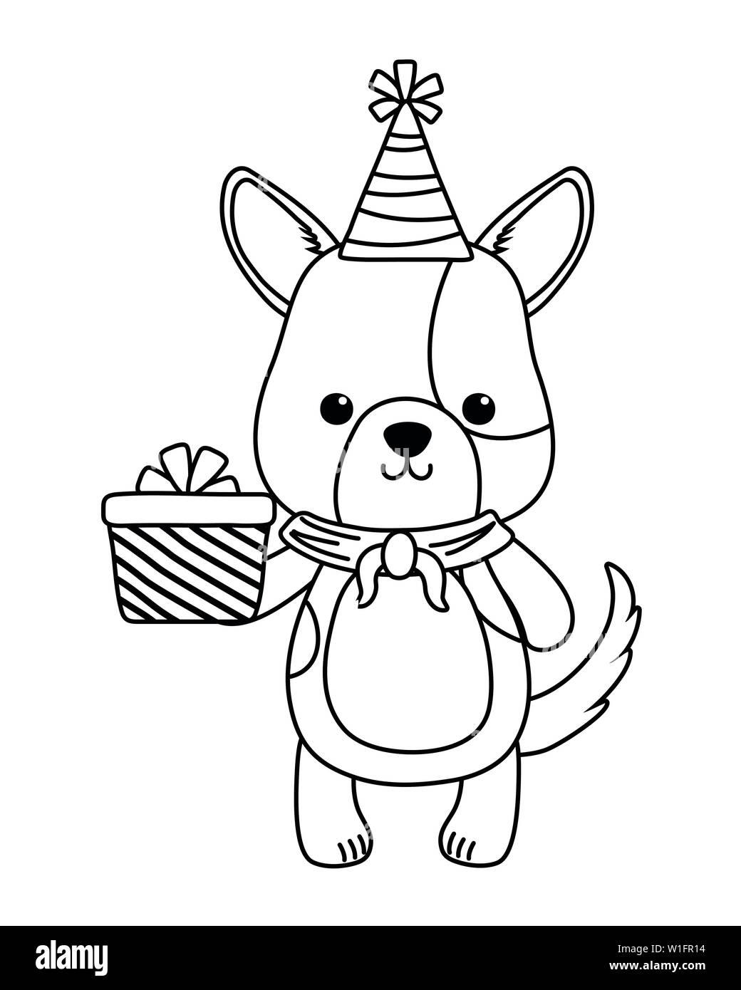 Dog Cartoon Design Animal Happy Birthday Celebration Decoration And Surprise Theme Vector Illustration Stock Vector Image Art Alamy