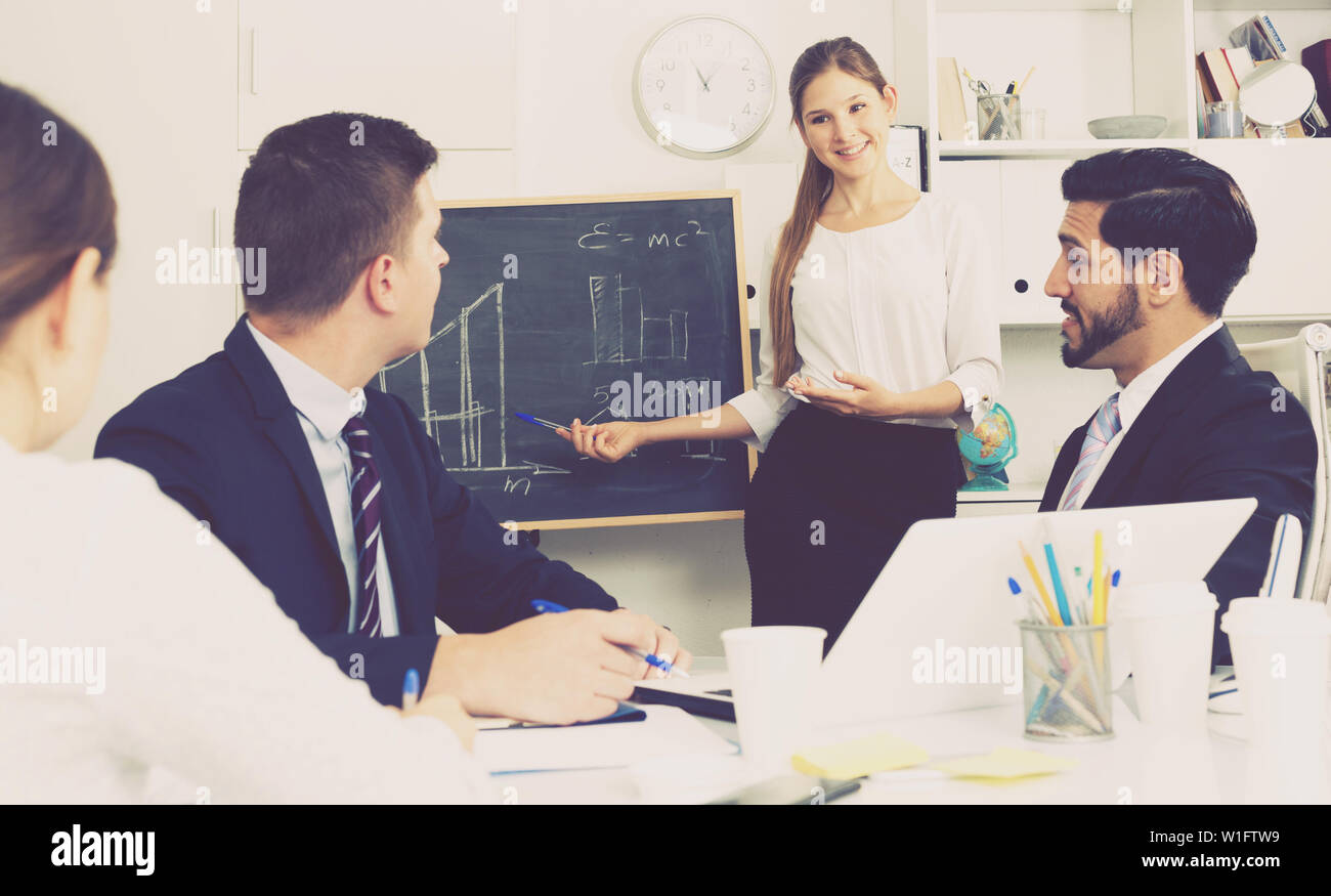 Successful smiling business woman presenting new business strategy to partners in office - Stock Image