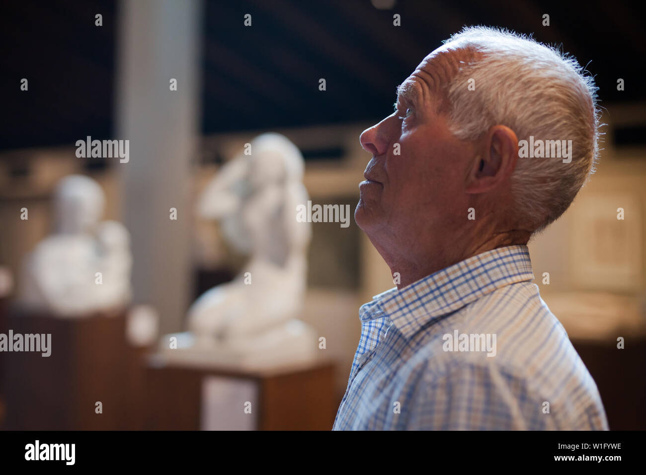 Portrait of mature man at hall of Art Museum among exhibits of antiquity - Stock Image