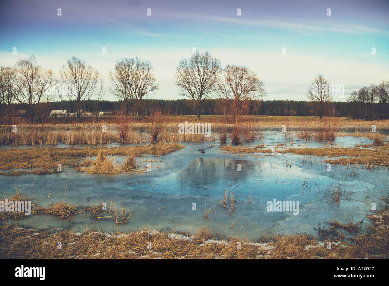 Lake in winter during the first frost - Stock Image