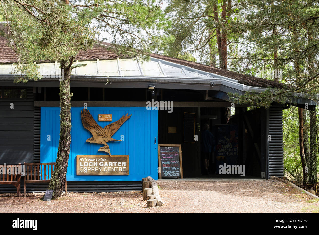 Entrance to RSPB Loch Garten Osprey Centre in Abernethy Forest Nature Reserve in Cairngorms National Park. Nethybridge Strathspey Highland Scotland UK Stock Photo