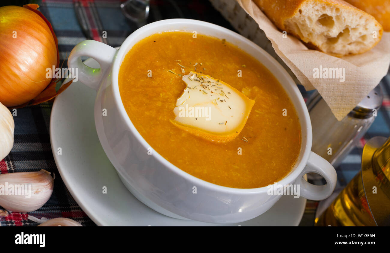 Delicious vegetable cream cheese soup - Stock Image
