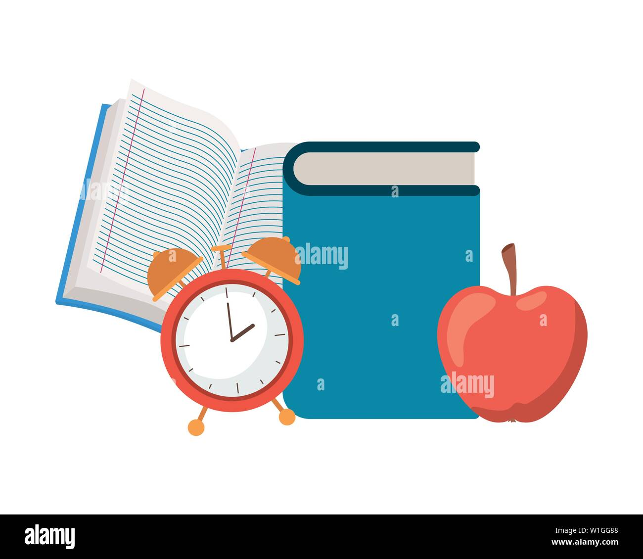 stack of books with apple fruit icon - Stock Image