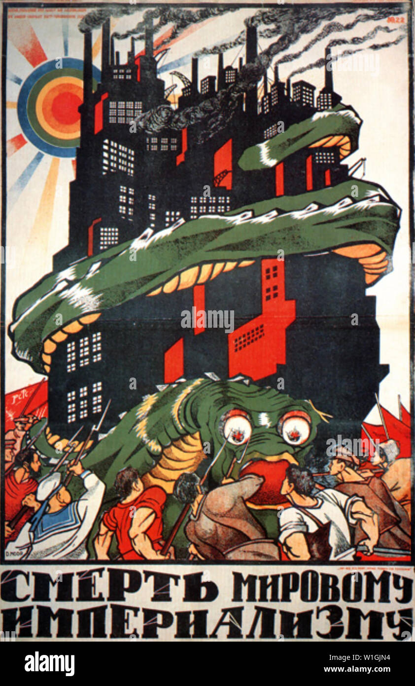 DEATH TO WORLD IMPERIALISM 1920 Soviet poster - Stock Image