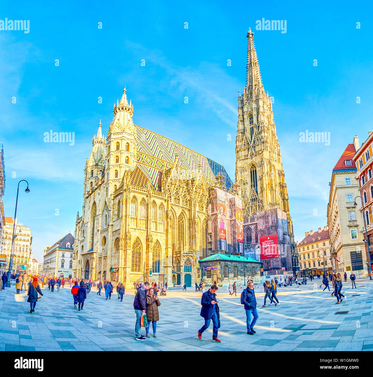 VIENNA, AUSTRIA - FEBRUARY 18, 2019: The outstanding St.Stephen Cathedral with high bell tower is a symbol of the city, on February 18 in Vienna. Stock Photo