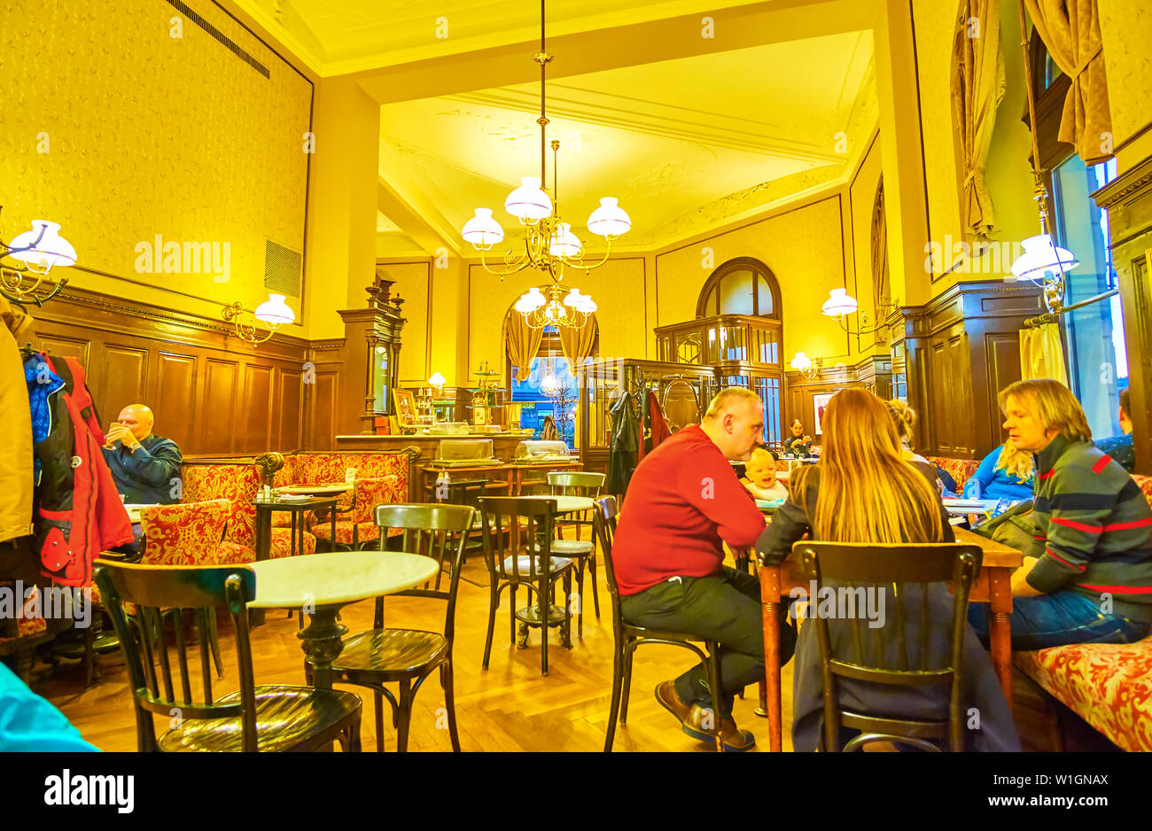 VIENNA, AUSTRIA - FEBRUARY 18, 2019: Cafe Sperl is best choice to spend time with friends and family and enjoy the drinks in relaxed atmosphere of his - Stock Image