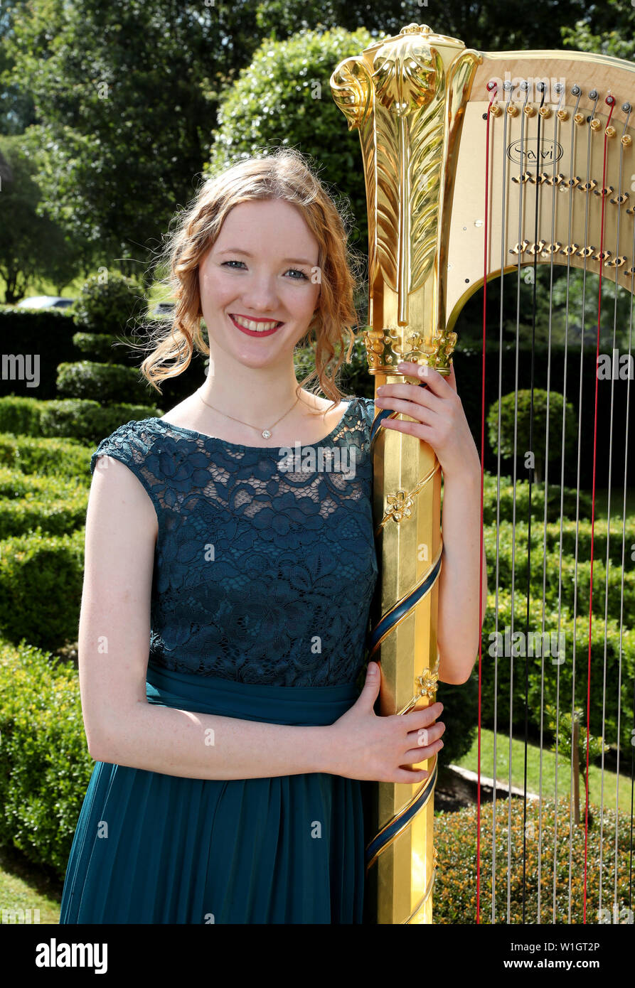 Alis Huws, the new Official Harpist to the Prince of Wales, poses for a photo during a musical evening hosted by the Prince of Wales and the Duchess of Cornwall at their official Welsh residence Llwynywermod in Llandovery, Carmarthenshire. Stock Photo