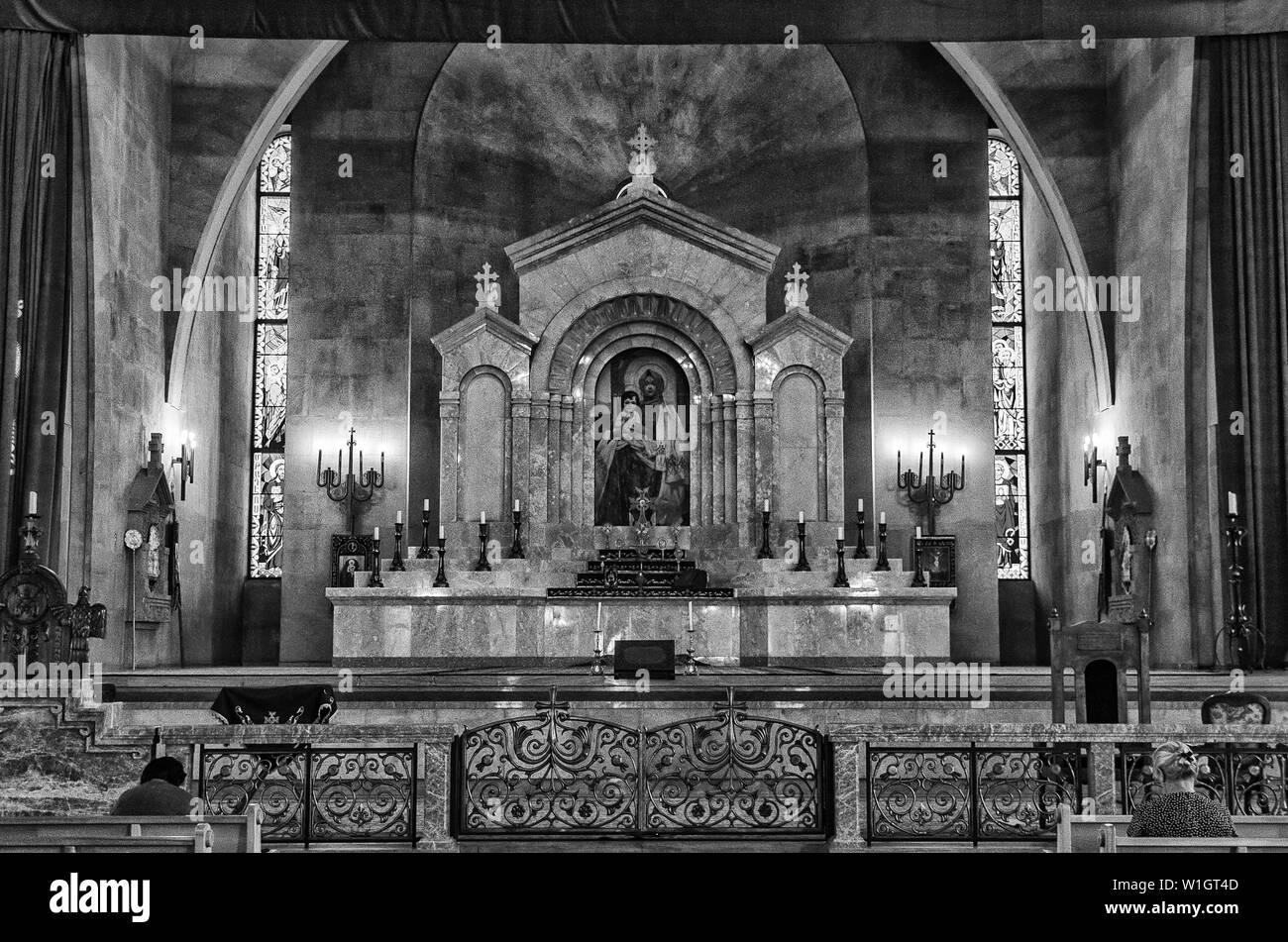 An interior of an old Armenian Christian church - Stock Image