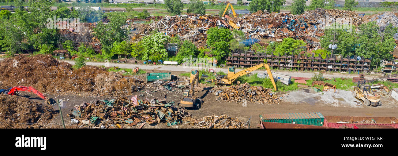 Detroit, Michigan - Scrap metal recycling yard. Stock Photo