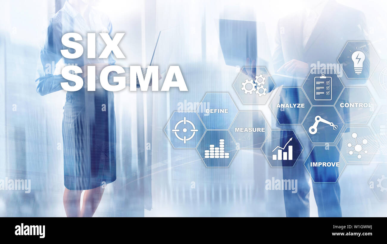 Six Sigma, manufacturing, quality control and industrial process improving concept. Business, internet and tehcnology Stock Photo