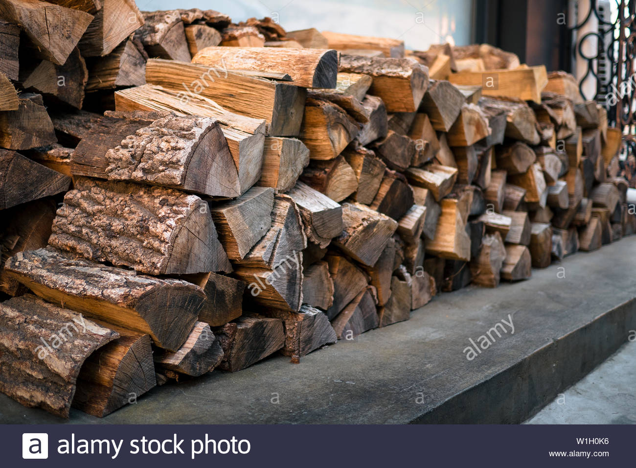 A Stack Of Beautiful Wood Chopped And Ready Firewood For The