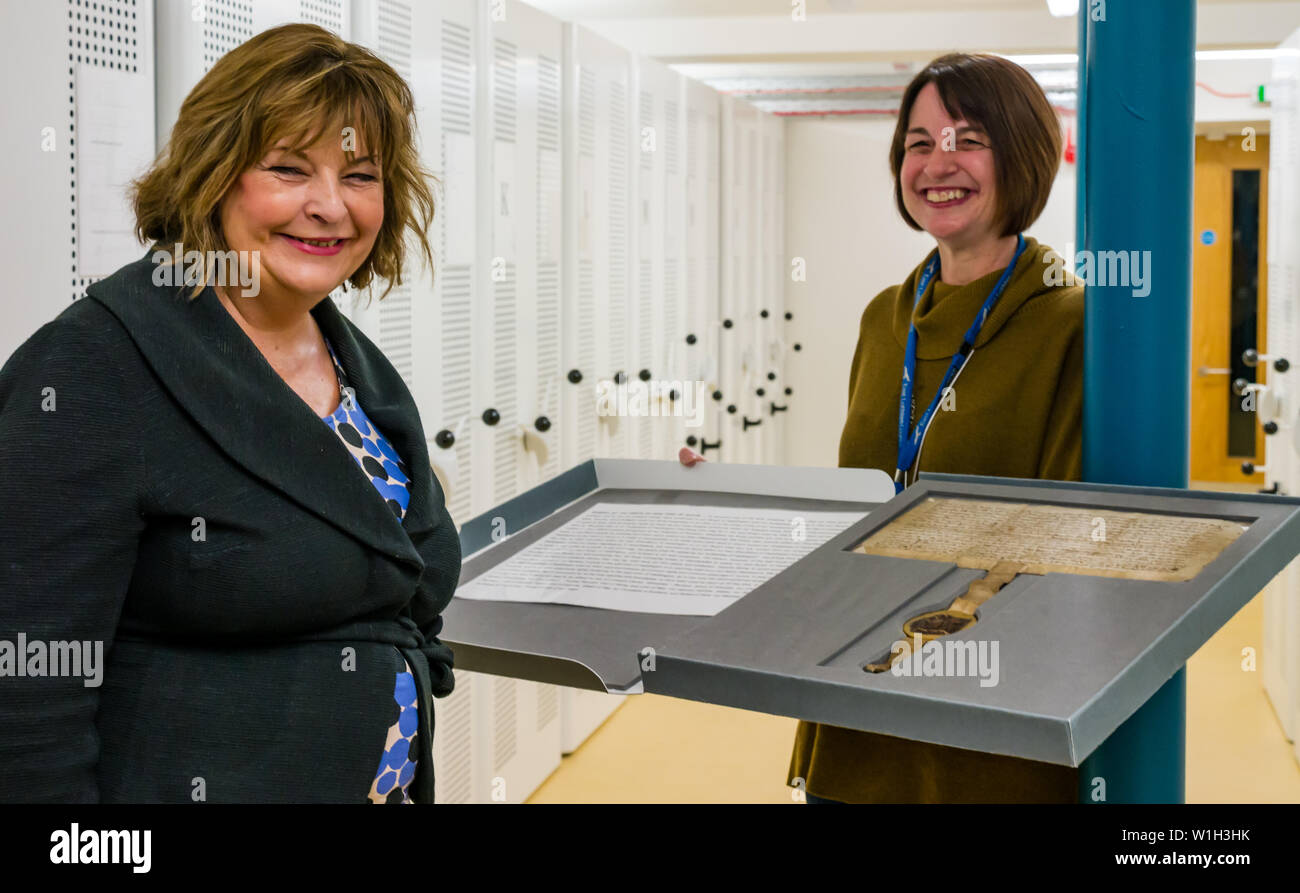 Fiona Hyslop, Scottish Government Minister visits John Gray Centre archive to see 700 year old charter from Robert the Bruce, Haddington, East Lothian - Stock Image