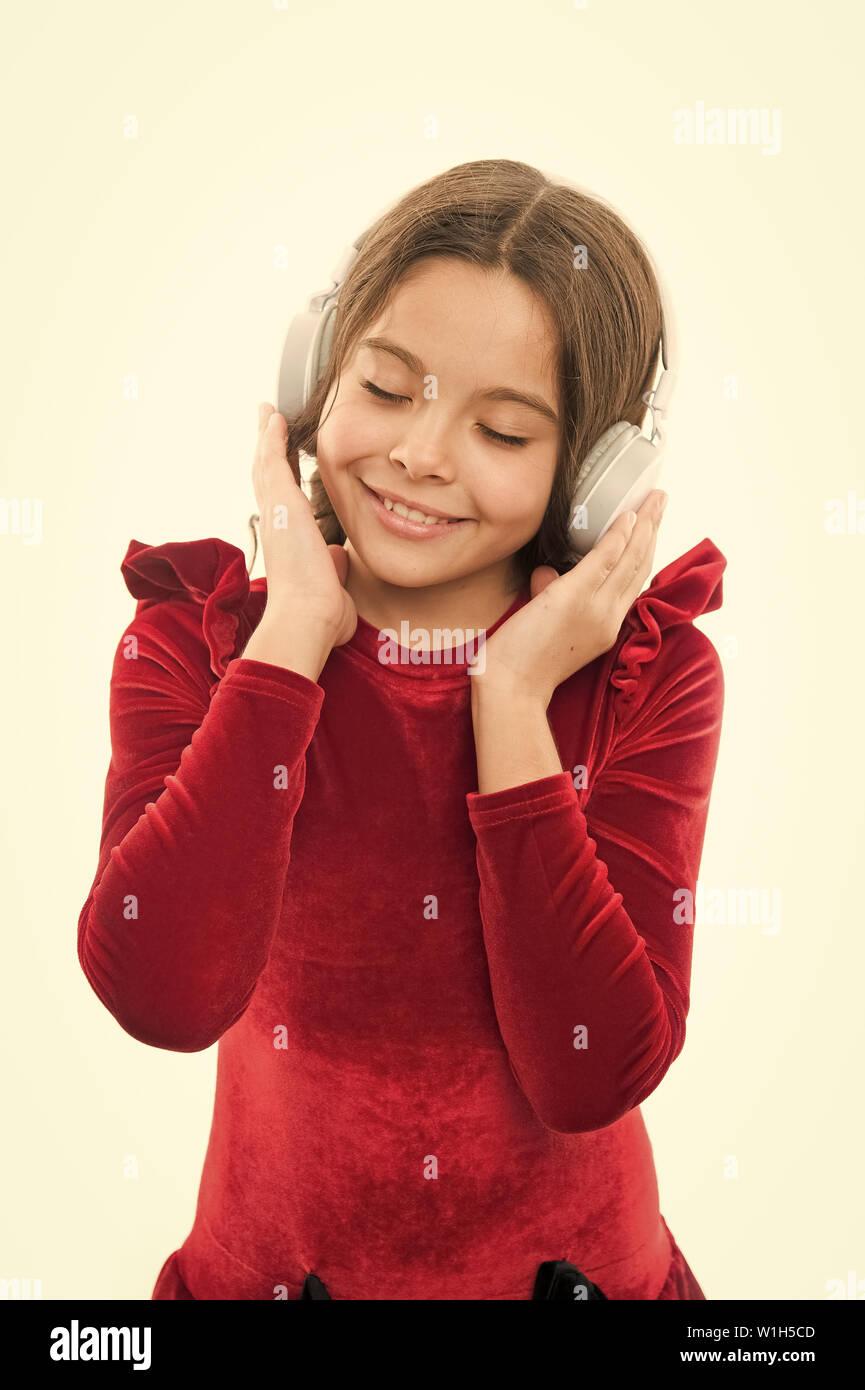 Music always with me  Little girl listen music wireless headphones