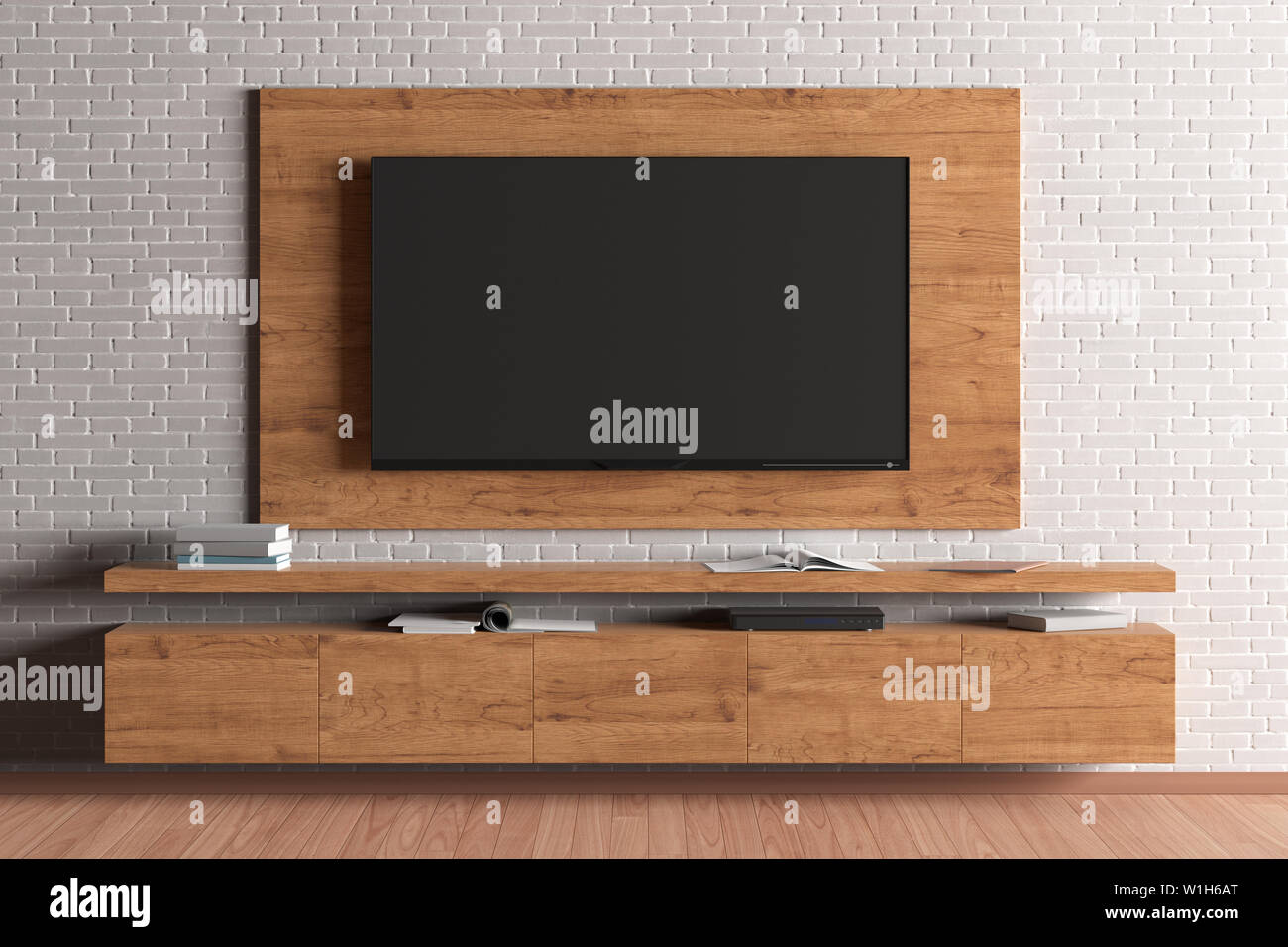 Tv Mock Up On The Wooden Plate And Cabinet On The White Brick Wall In The Modern Living Room 3d Illustration Stock Photo Alamy