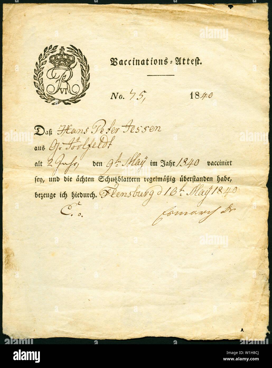 Europa, Deutschland, Flensburg, Vaccinations-Attest ( Impfbescheinigung ) ,  Hans Peter Jessen ( 2 Jahre alt ) , wurde am 9. Mai 1840 geimpft ( vaccin Stock Photo