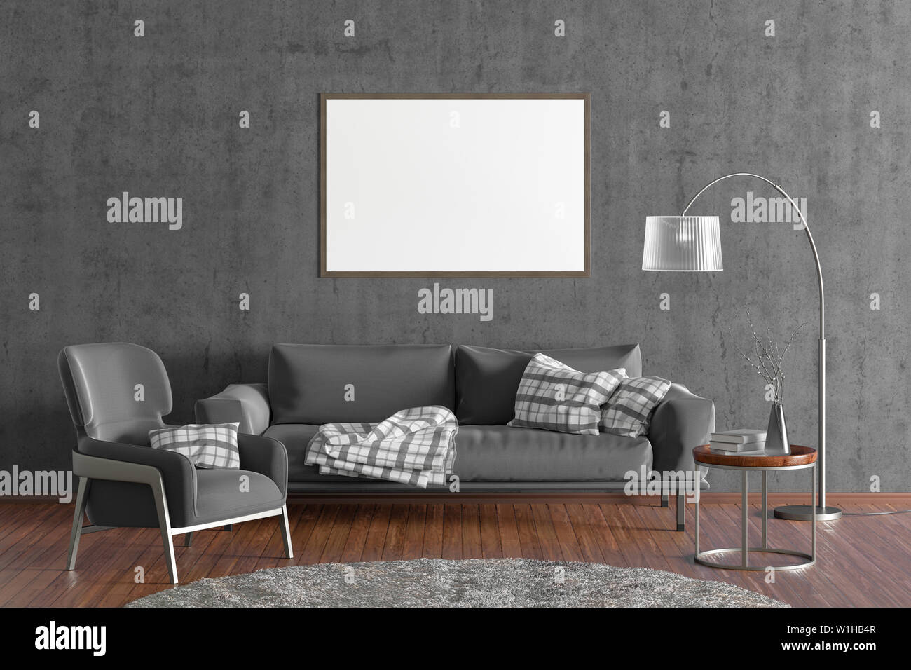 Horizontal Blank Poster On Gray Concrete Wall In Interior Of