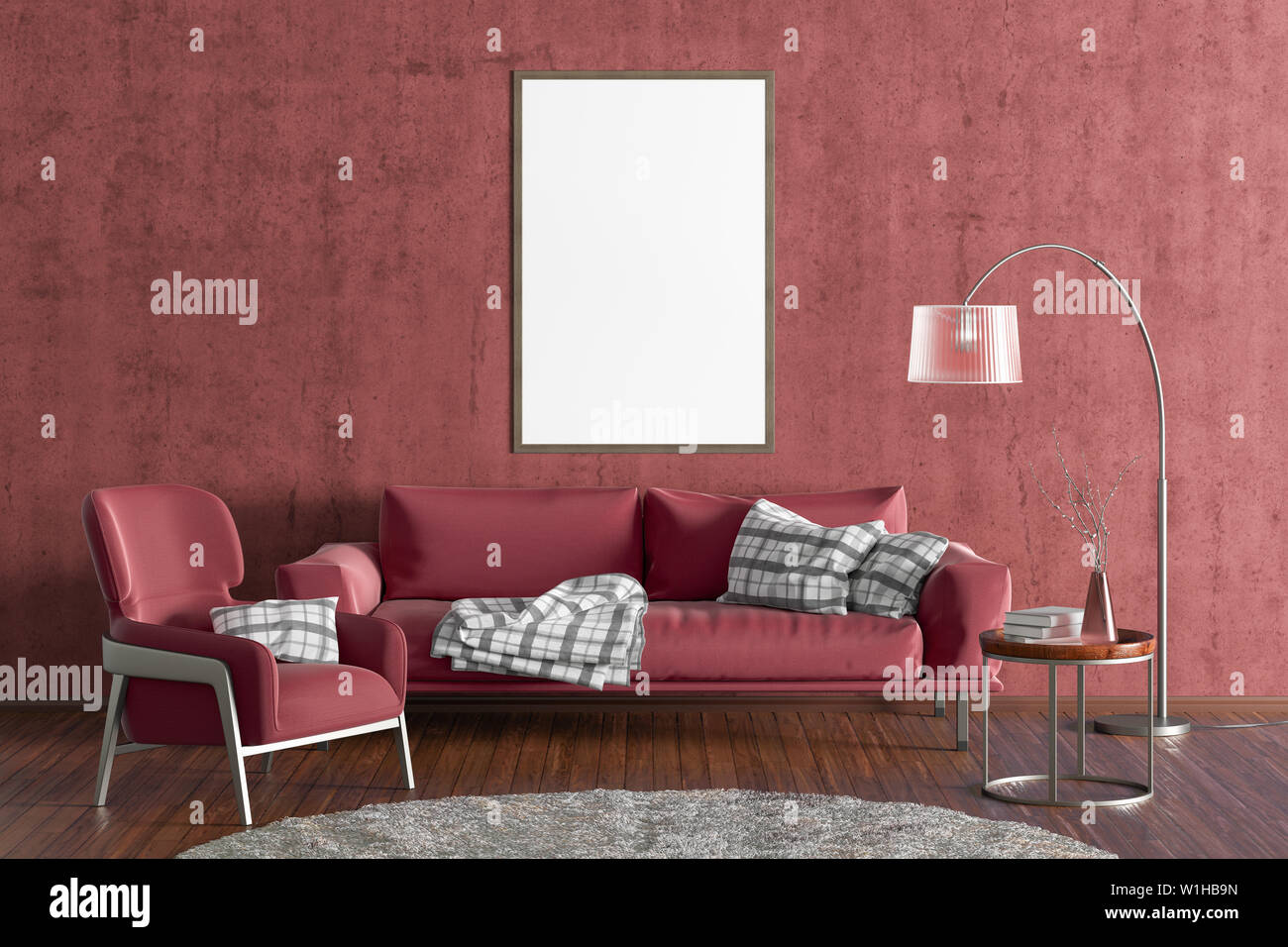 Vertical blank poster on red concrete wall in interior of ...