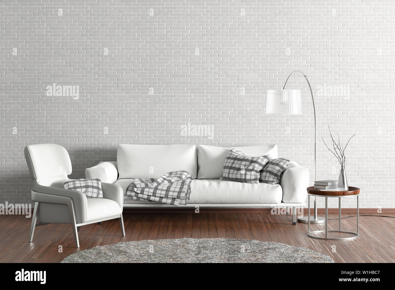 Interior Of Modern Living Room With White Wall And Wooden